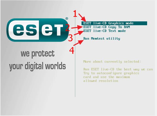 Как загрузить компьютер с загрузочного диска от ESET