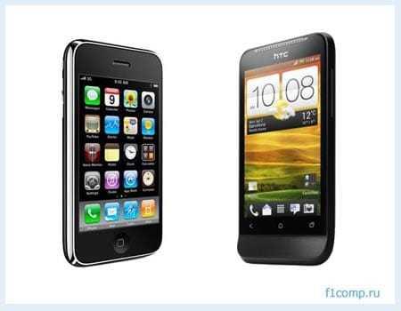 HTC One V и  iPhone 3 G