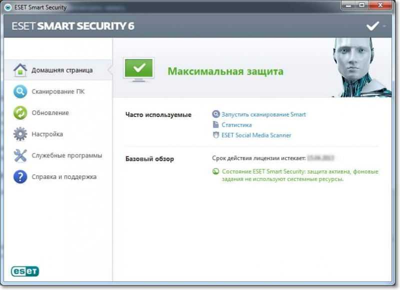 Главное окно NOD32 Smart Security 6