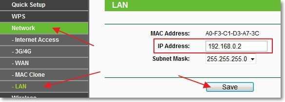 Изменяем IP-адрес роутера