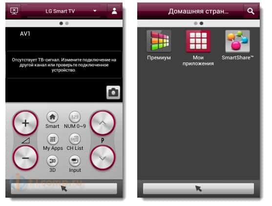 Главные функции LG TV Remote