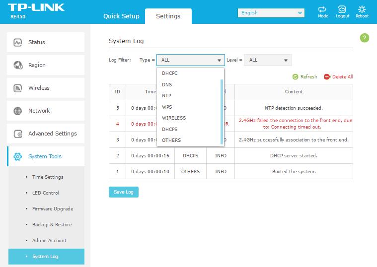 Вкладка System log.