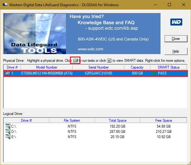 Windows Data Lifeguard Diagnostics.