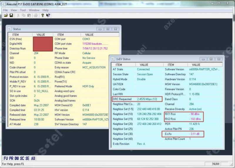 улучшение сигнала с помощью AxesstelPst EvDO