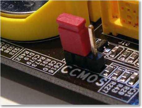 Джампер (перемычка) для сброса настроек BIOS