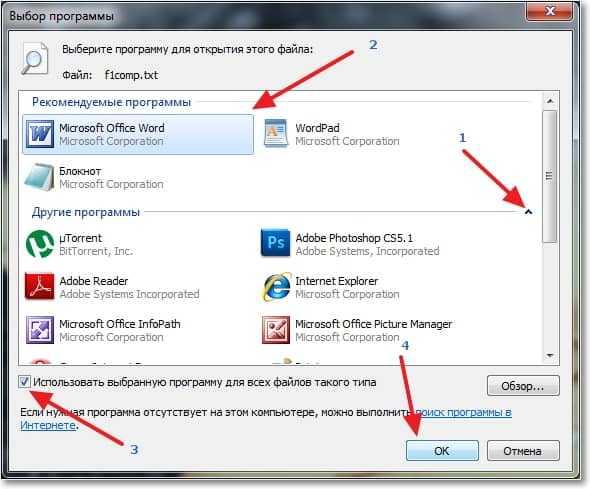 Использовать выбранную программу для всех файлов такого типа