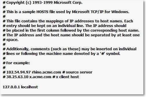Windows XP содержимое файла hosts