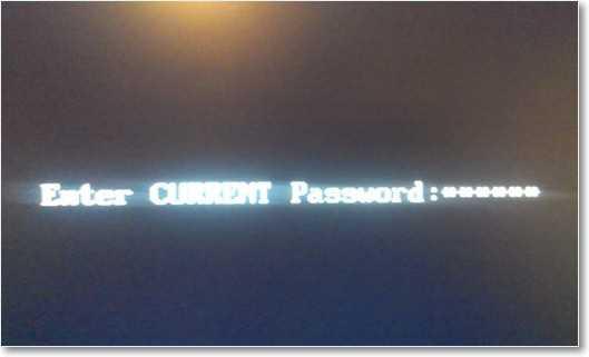 Ввод пароля в БИОС