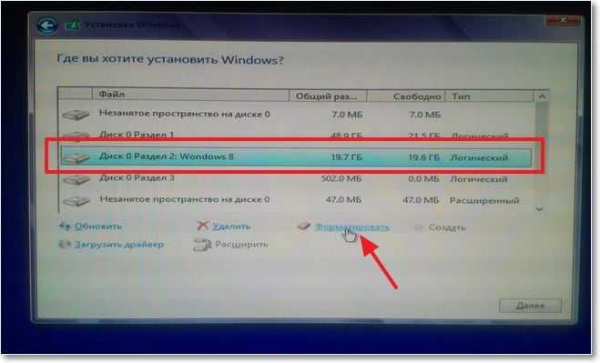 Форматирование раздела под Windows 8