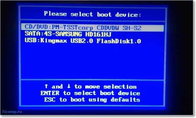 Выбираем устройство с которого хотим запустить компьютер