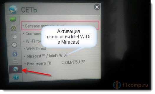 Встроенный приемник стандартаIntel WiDi и Miracast на телевизорах LG