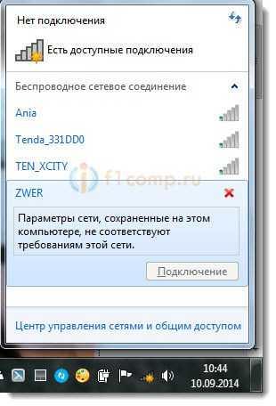 Возле Wi-Fi сети красный крестик, и параметрысети не соответствуют сохраненным