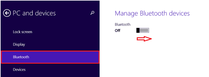 Включение Bluetooth на Windows 8.