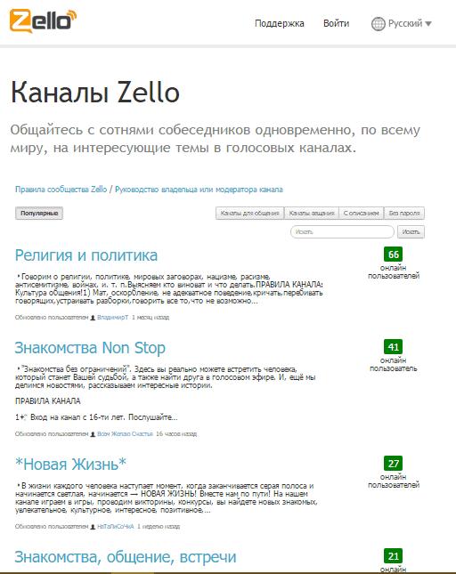 Список каналов на сайте Zello.