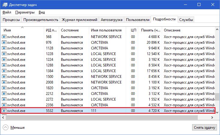 Svchost запущен от имени пользователя.