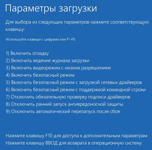 Меню загрузки режимов Windows 10.