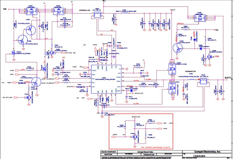 Подключение чарджера в схеме Compal LA-8002P.