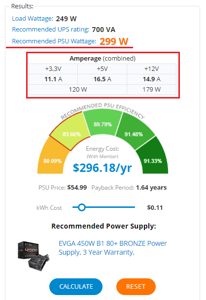 Требуемая мощность БП и другие параметры.