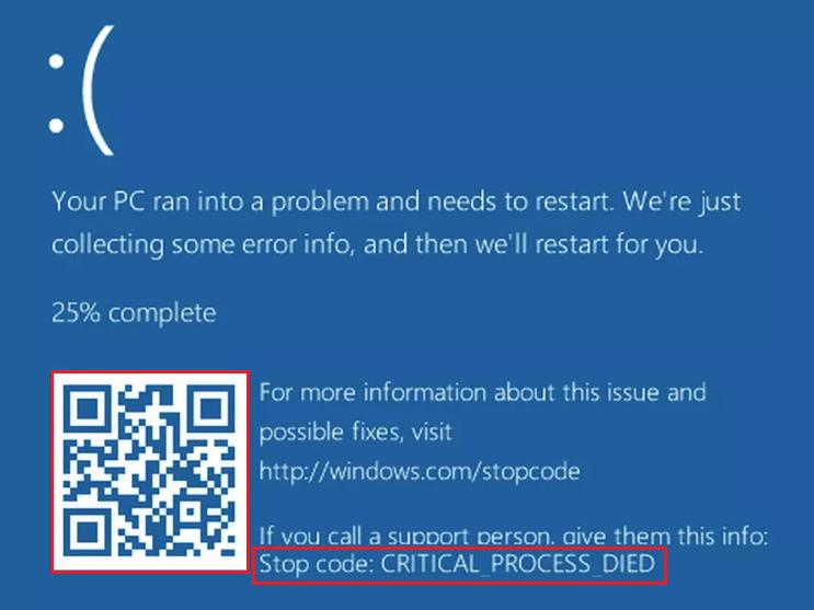 Синий экран смерти на Windows 10.