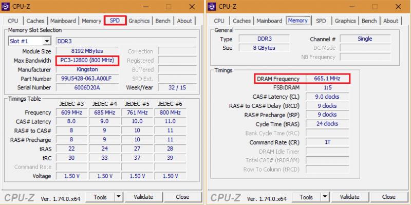 Окно CPU-Z.