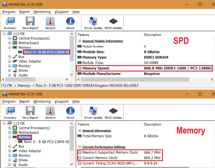 Свойства памяти HWiNFO32/64.