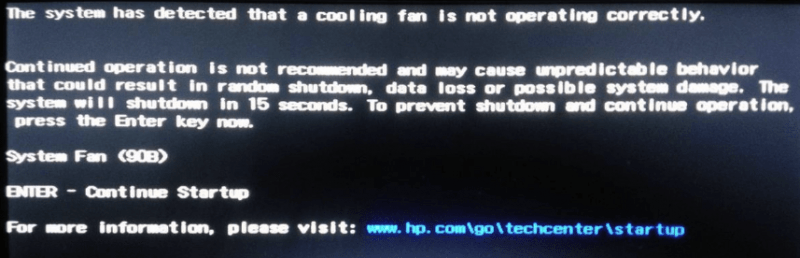 Ошибка System Fan <B90>.