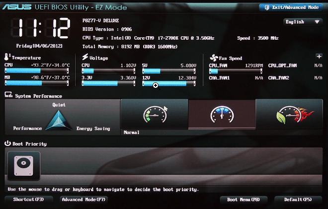 Графический интерфейс UEFI.