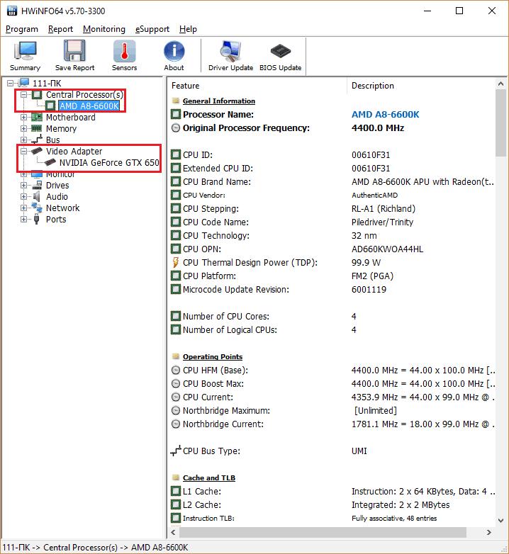 Данные с вкладки о процессоре в HWiNFO.