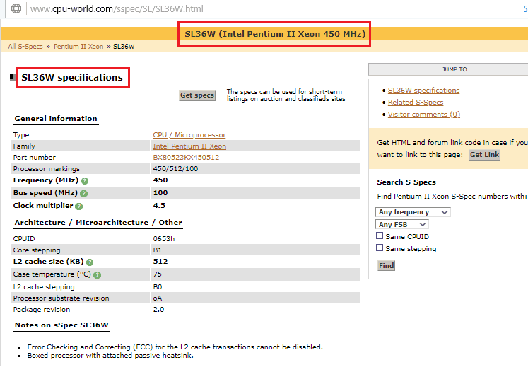 Поиск sspec на cpu-world.com