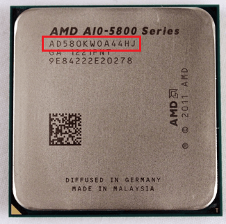 CPU Part Number на процессоре AMD.