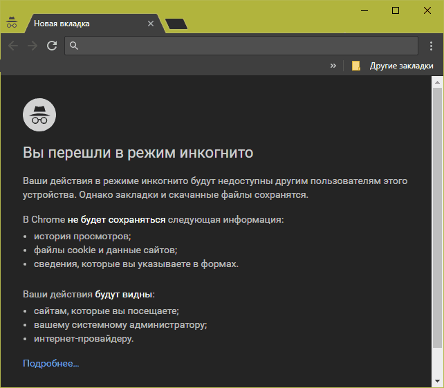 Вид приватного окна в Google Chrome.