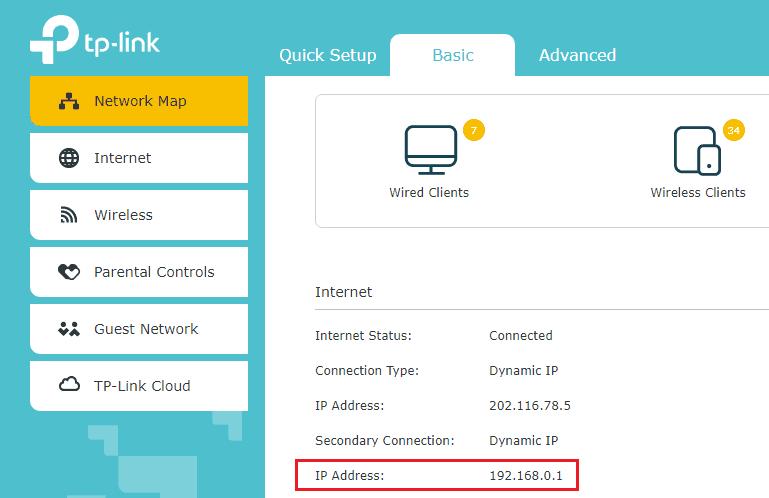 IP роутера в админ-панели.