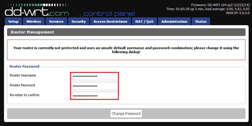 Изменение логина и пароля в DD-WRT