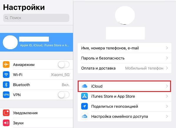 Настройки Apple ID, iCloud, iTunes Store.
