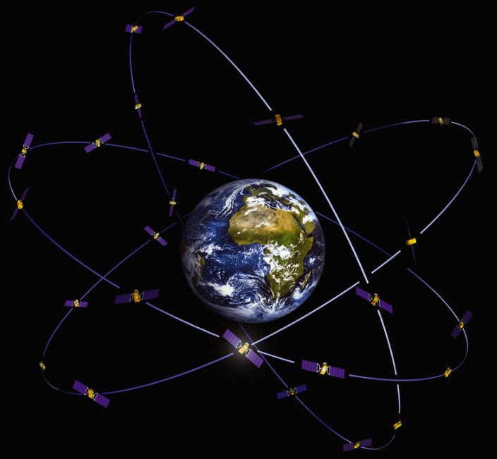 Спутники GPS вокруг земли.