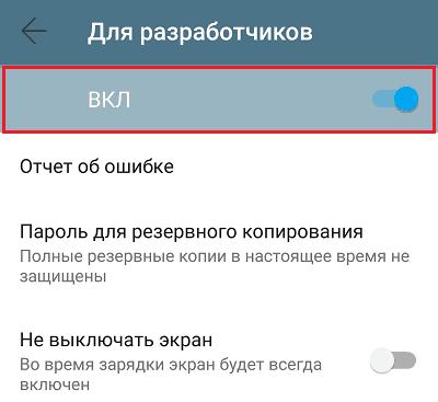 Активация режима разработчиков.