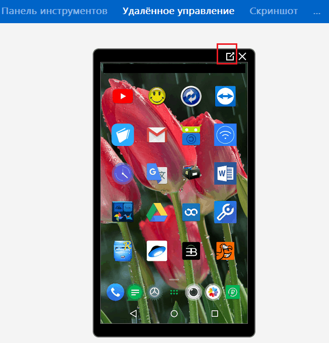 Экран смартфона в TeamViewer.