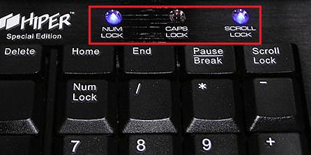Индикаторы на клавиатуре.