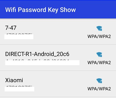 Пароли Wi-Fi в приложении WiFi password Show 2019.