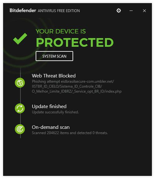Внешний вид антивируса Bitdefender Antivirus Free Edition